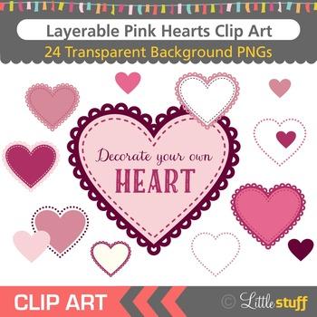 Heart Clip Art, Heart Graphics, Layerable Heart Elements