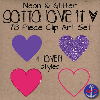 Heart Clip Art- Neon & Glitter- Gotta Love It- Valentine's