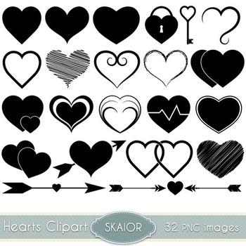 Hearts Clip Art Heart Clipart Silhouette Scrapbooking Icon