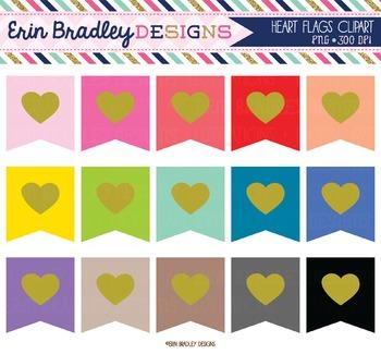 Heart Flags Clipart
