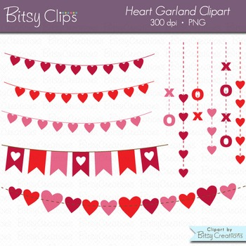 Heart Garland Clipart Digital Art Set Valentine Clipart Ga