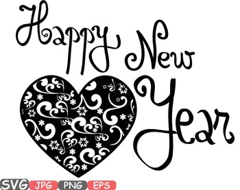 Heart Happy New Year SVG Winter holiday Clip art quotes wo