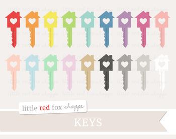 Heart House Key Clipart