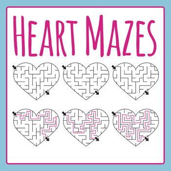Heart Mazes Clip Art Set for Commercial Use