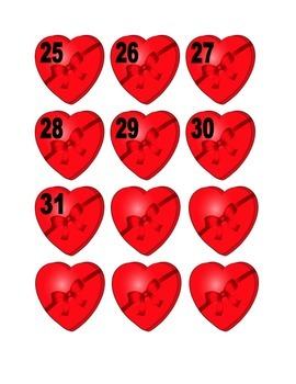 Heart Shaped Candy Box With Ribbon Numbers for Calendar or