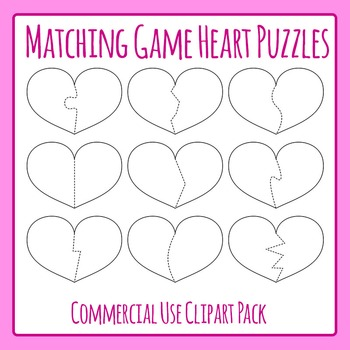Heart Shaped Puzzle Templates for Matching Games Commercia