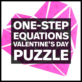 Heart Shaped Triangle Puzzle - Solving One-Step Equations