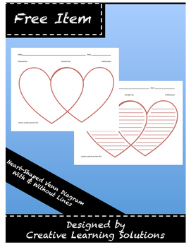 Valentine Heart-Shaped Venn Diagram in Color - Full Page G