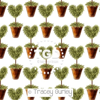 Heart Topiary on White digital paper Printable Tracey Gurl