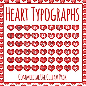 Heart Typographs - Letters / Tiles / Characters Clip Art S