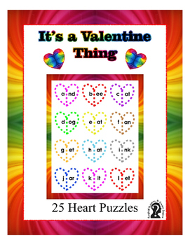 Heart Word Puzzles for Valentine's Day ~ 25 words with ext