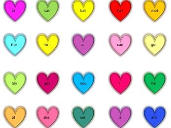 Heart and Car kindergarten site words