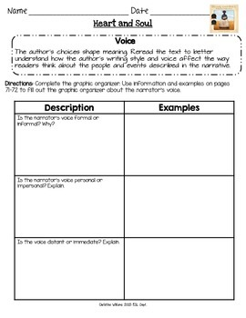 Heart and Soul Graphic Organizers Lesson 9 Readygen 5th gr