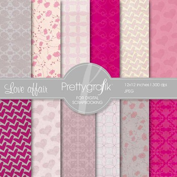 Heart digital paper, commercial use, scrapbook papers, bac