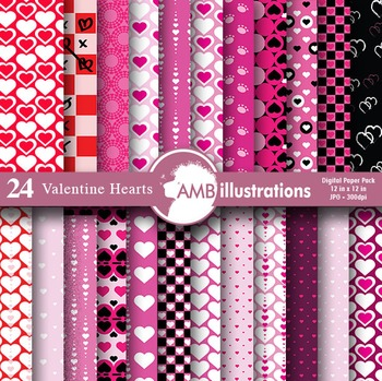 Digital Papers, Heart digital papers, Valentines Day Digit
