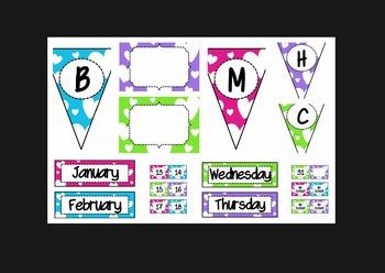 Hearts Bundle (lunch, calendar, subject pennants, word wal