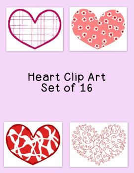 Hearts Clip Art Bundle Valentine's Day PNG JPG Blackline C