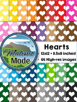 Hearts - Digital Papers Package (12x12 AND 8.5x11 inches)