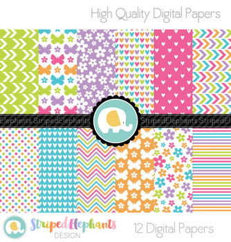 Hearts, Flowers and Butterflies Digital Papers