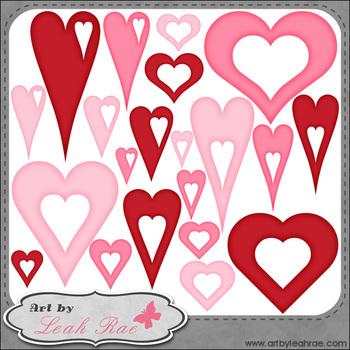Hearts Galore 4 - Art by Leah Rae Clip Art & Line Art / Di