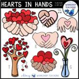 Valentine Clip Art - Hearts In Hands