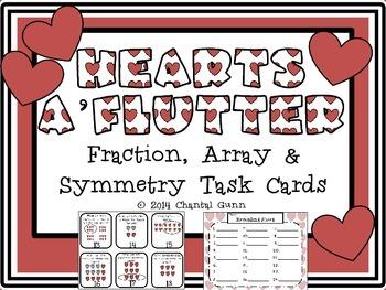 Valentine Hearts a'Flutter- Fraction, Array & Symmetry Pra