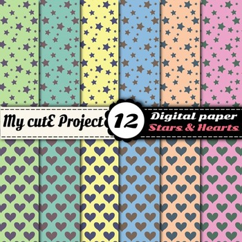 Hearts and stars in 6 colors  - DIGITAL PAPER - Scrapbooki