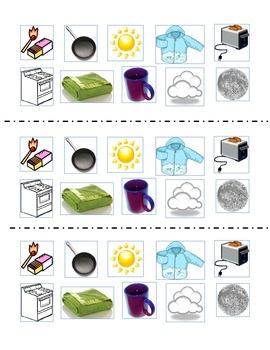 Heat Energy Sorting Cards