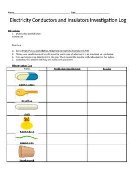 Heat Experiment Log (conductors and insulators)