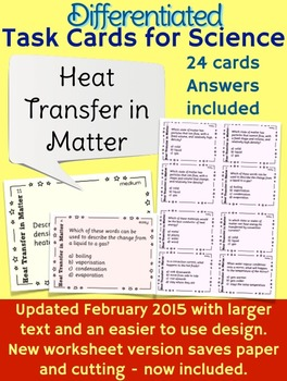 Heat Transfer in Matter Task Cards