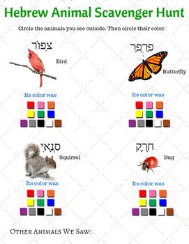 Hebrew Animal Scavenger Hunt Sheet