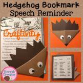 Hedgehog Bookmark Speech Craft FREE {articulation craftivity}