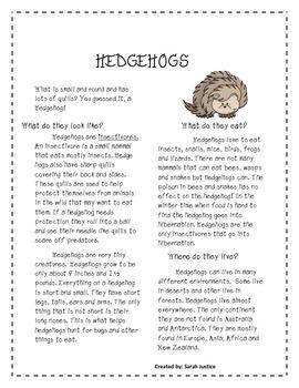 Hedgehog Research activity ( Hedgehog Bakes a cake)