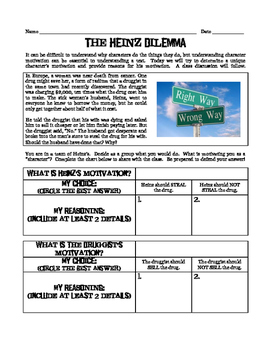 Heinz Dilemma: A Tool to Discuss Character Motivation in A
