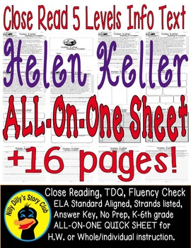 Helen Keller Close Reading 5 Level Passages ALL-ON-ONE 16p