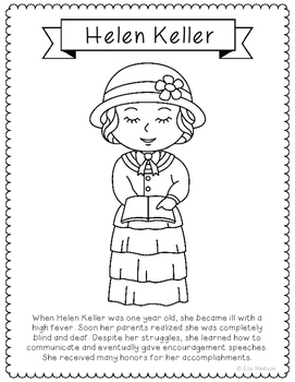 Helen Keller Coloring Page Activity or Poster with Mini Bi