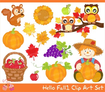 Hello Fall Autumn 1 Clipart Set