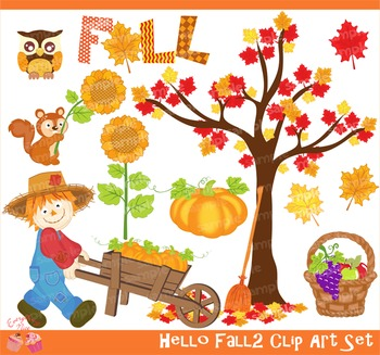 Hello Fall Autumn 2 Clipart Set