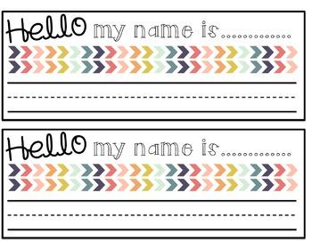 Hello My Name is.....Rainbow Chevron Desk Nameplates Editable