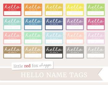 Hello Name Tag Label Clipart
