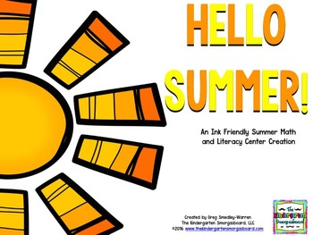 Summer!  Hello Summer!  A BLACKLINE Math and Literacy Creation!
