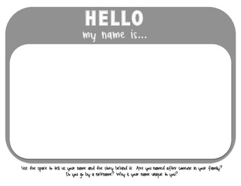 Hello, my name is... name origin packet English and Spanish