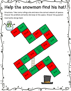 Help The Snowman Find His Hat Addition Board Game