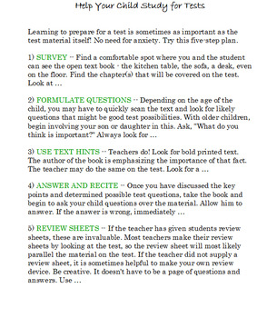 Help Your Child Study for Tests