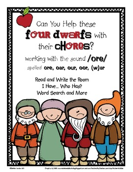 Help the Dwarfs Do Chores: Word Work for /ore/ spelled ore