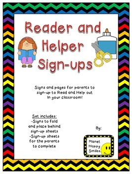 Helper and Reader Sign-ups ~ Chevron Rainbow Print with bl