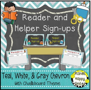 Helper and Reader Sign-ups, Teal and Chalkboard theme