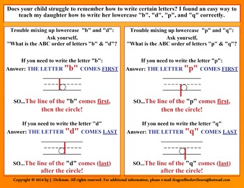 """Helpful tip for letters """"b"""", """"d"""", """"p"""", & """"q"""""""