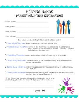 Helping Hands Parent Volunteer Form