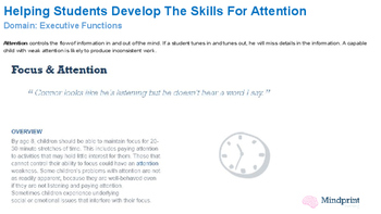 Helping Students Develop The Skills For Attention